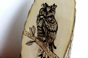 Wood burned tree slice