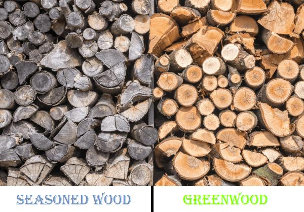 greenwood and seasoned wood