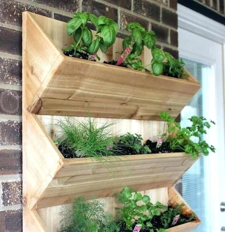 Wooden outdoor wall planters 2