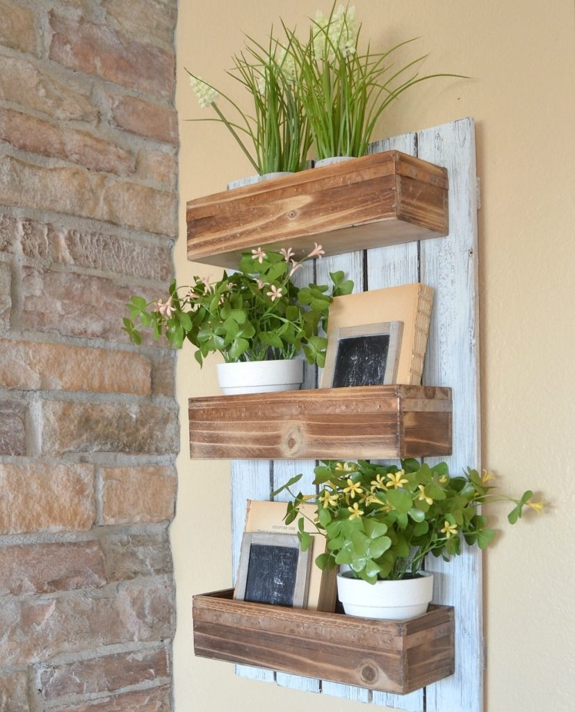 Wooden outdoor wall planters