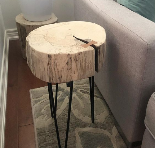 wood side slice table